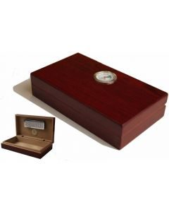GERMANUS Mini Humidor High Gloss, hygrometer, spanskt cederträ, rymmer ca 20 cigarrer