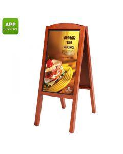 27-tums Smart FullHD Annonserings-skylt i elegant trä, Styr med Android eller iOS (Beställningsvara)