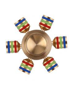 Tung Fidget Spinner av mässing med självlysande detaljer och modulära ändar, inkl. fodral