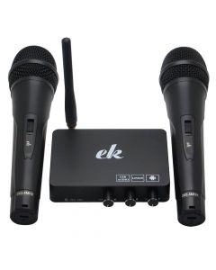 Karaokemaskin / Karaokemixer med två trådlösa mikrofoner, eko/reverb, slimmad design