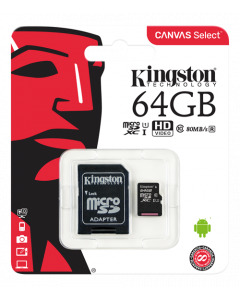 Kingston Canvas Select microSDXC-kort, 64GB, Klass 10 UHS-I, inkl. SD-korts adapter, svart