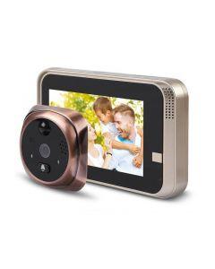 """Smart Dörröga, Titthålskamera med WiFi, 4.3"""" skärm, 720p, 160°, IR, Rörelsedetektion, Tvåvägsljud"""