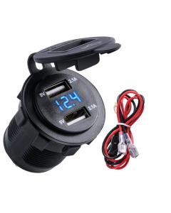 Dubbel USB-laddare för Bil, Båt och Motorcykel med Voltmätare