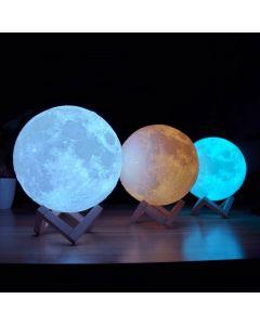 Nattlampa LED månglob med 3D-yta, touch, induktionsdriven, uppladdningsbar, 3 färger