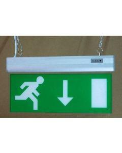 Skylt nödutgång med LED-ljus - Nedåtpekande pil