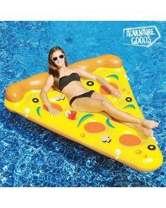 Uppblåsbar Pizza-luftmadrass för bad med flaskhållare