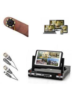 Dolt övervakningspaket med skärm & liten kamera