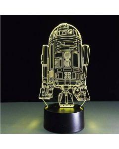 Dekorativ Star Wars lampa med 3D-effekt och skiftande färg - R2D2