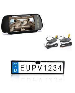 Trådlös Backkamera i form av registreringsplåt, med backspegelsdisplay