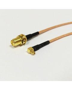 Vinklad MMCX-hane till RP-SMA-Hona kabel, 15 cm