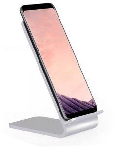 Trådlös QI Snabbladdare för Samsung-telefoner, stativ i aluminium - Silver
