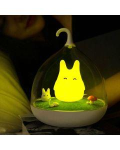 Söt portabel LED-lykta i Totoro-stil, uppladdningsbar, vibrations-sensor - Gul
