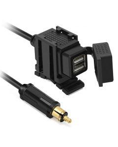 Vattentät USB-laddare för BMW/Ducati/Triumph, 2 portar, 4,2A, Hella/Din-anslutning