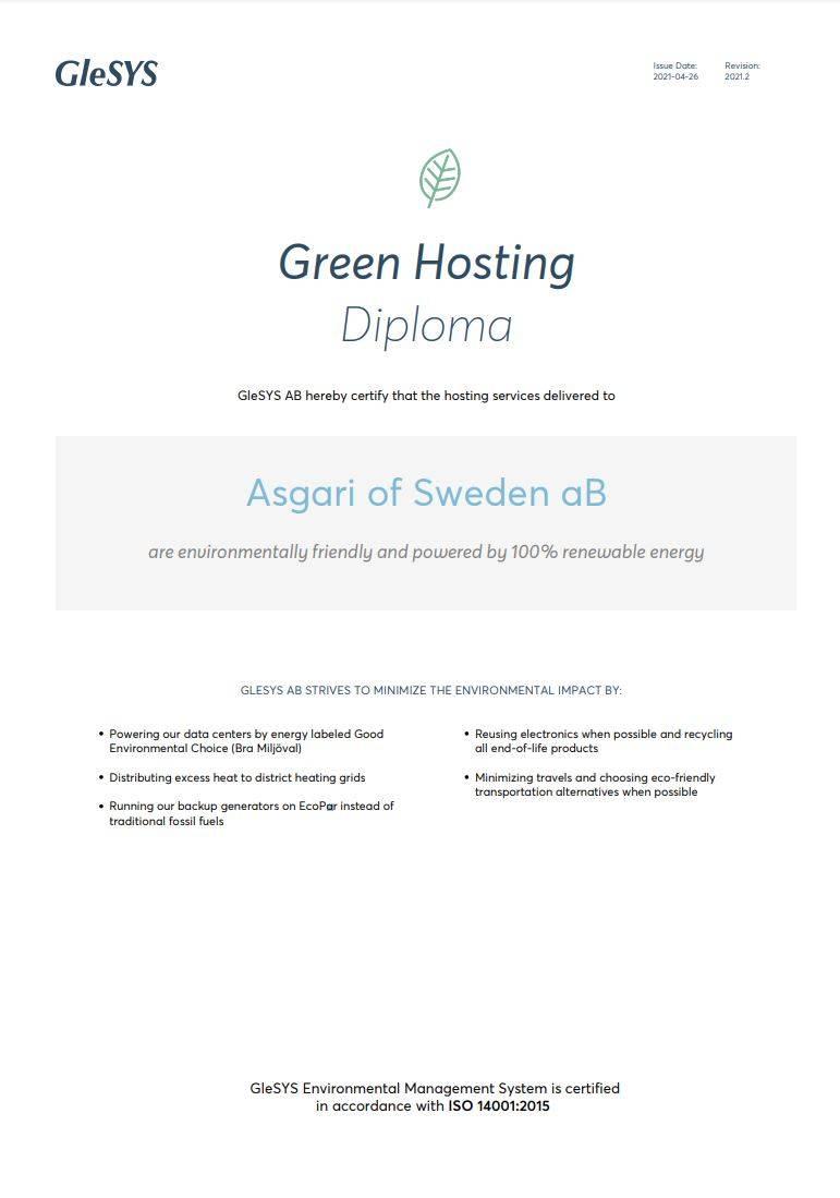 Prylstaden hostar med green hosting, förnyelsebar energi